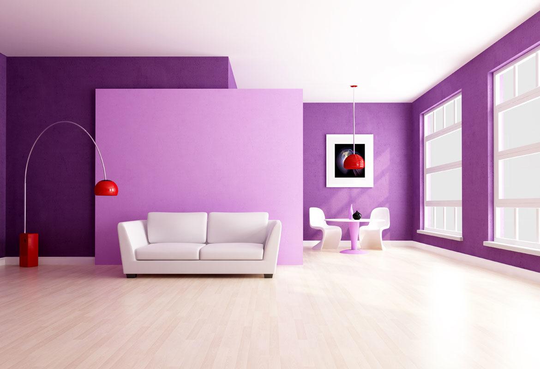 Lila falak a szobában